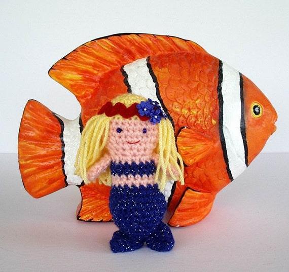 Blue Sparkle Mermaid Toy Crochet Doll Pink Skin Yellow Blond Hair Amigurumi