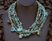 Long Triple Strand Turquoise Necklace