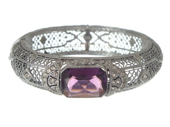 Art Deco Bracelet Antique Bangle Filigree Amethyst 1920s Vintage Jewelry