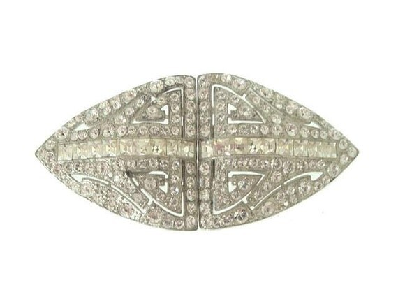 Art Deco Vintage Dress Clips French Cut Faux Diamonds 1930 Wedding Jewelry