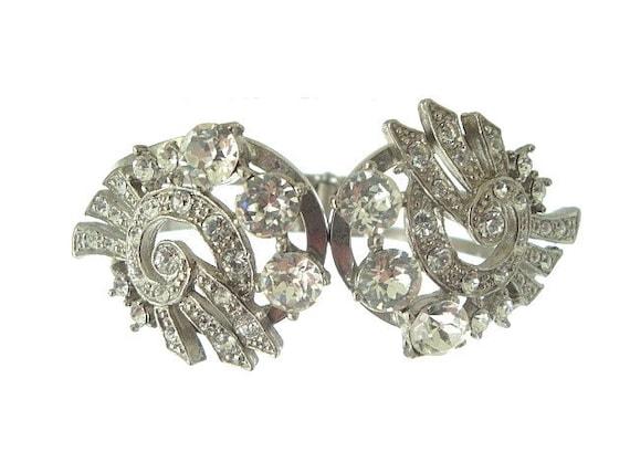 Art Deco Bracelet Vintage Bangle Rhinestone Wide Cuff 1930s Wedding Jewelry