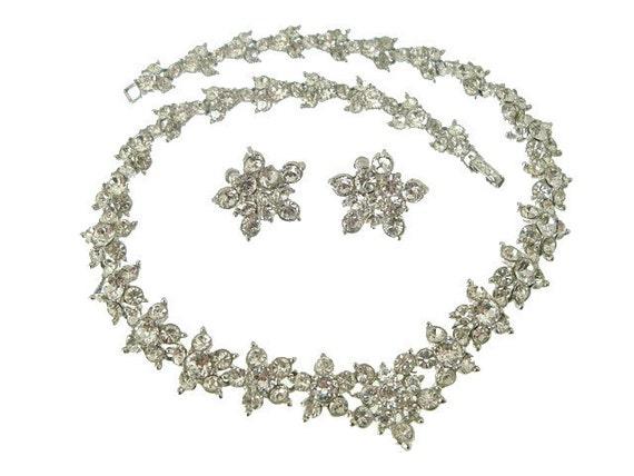 Vintage Bogoff Designer Necklace Earring Demi 1940s Wedding Jewelry