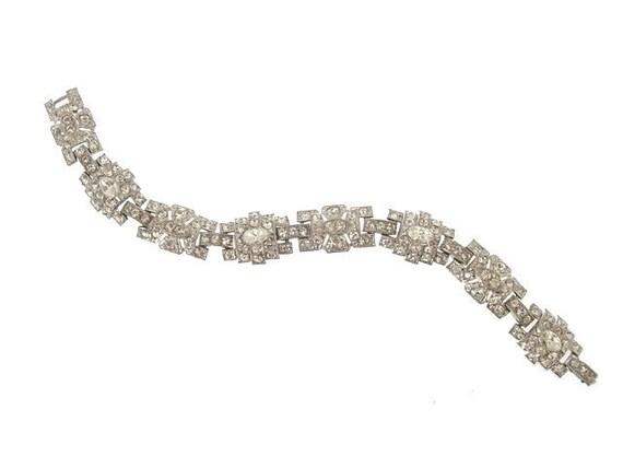 Art Deco Bracelet Original 1920s Classic Geometric Link Wedding Jewelry