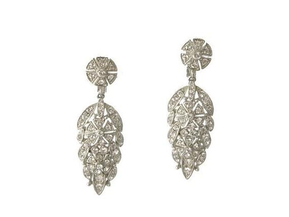 Vintage Chandelier Earrings Rhinestone Forget Me Knot Floral 1950s Wedding Jewelry