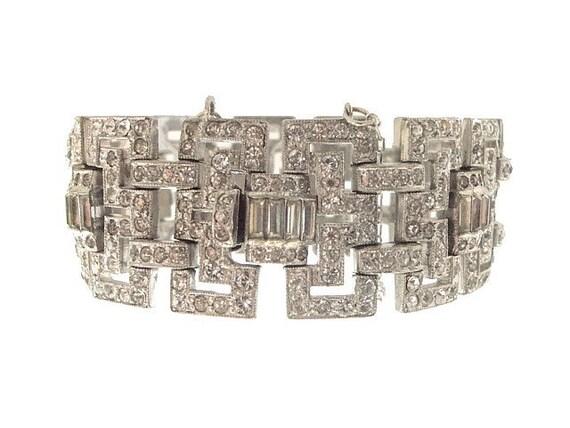 RESERVED Art Deco Bracelet Wide Link Vintage Book Piece 1920s Wedding Jewelry