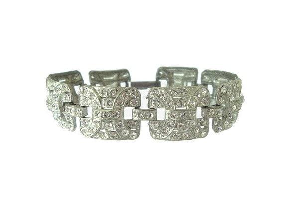 Art Deco Bracelet Vintage Pot Metal Rhinestone Wide Link 1920s Wedding Jewelry
