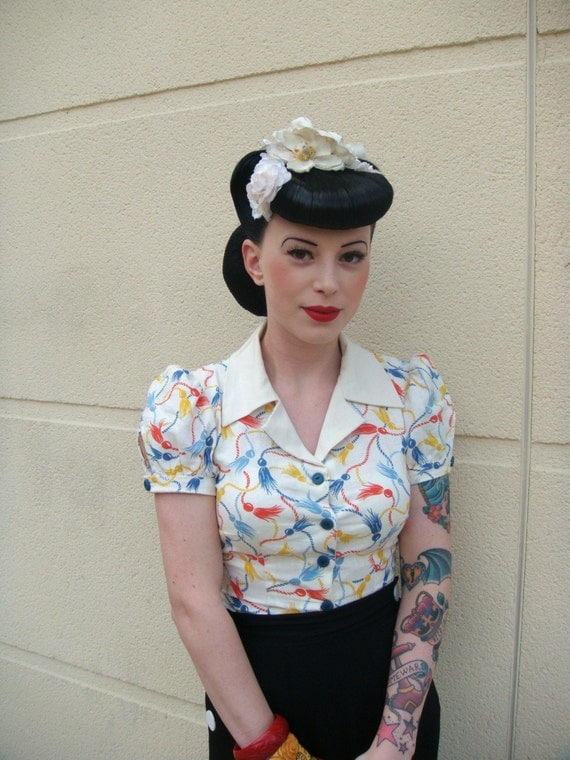 Sophie puff sleeve blouse with vintage 1930s 1940s fabric and buttons