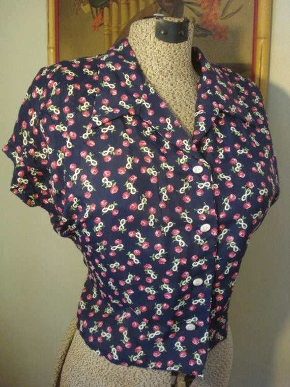 Natalie 1940s flutter sleeve rayon blouse