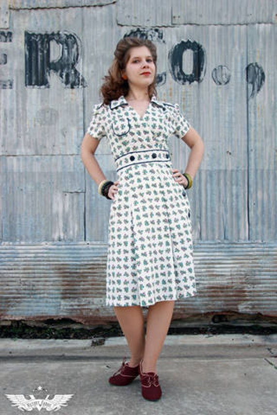 1940s wrap dress made to order in your choice of fabric and buttons