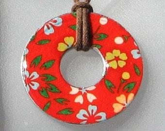 Gorgeous Scarlet SPLASH Floral Upcycled Origami Paper WASHER Hardware Pendant Necklace