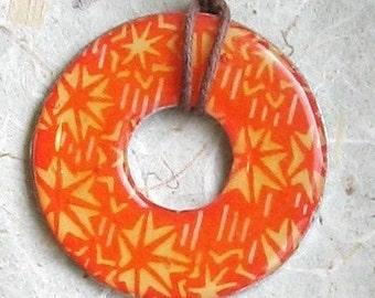 Beautiful Orange Starburst  Washer Hardware Pendant Necklace Upcycled Origami Paper Unique gift