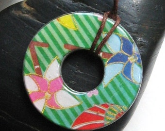 Gorgeous PInwheel Carnival Blast Upycled Origami Paper WASHER Hardware Pendant Necklace