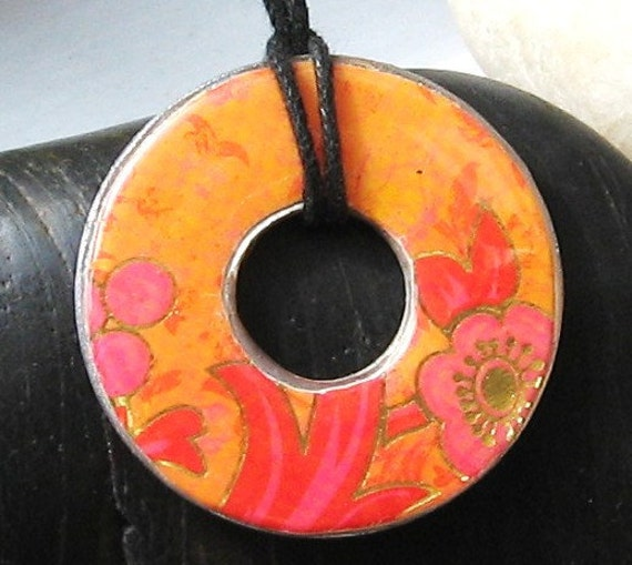 Lovely Tangerine Dream Metallic Upcycled Paper Hardware Washer Pendant Necklace