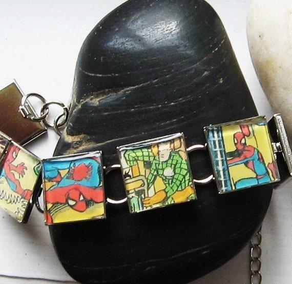 SPIDERMAN Vintage Comic Book Upcylcled Bracelet Chain Link Italian Charm Style Marvel Comic Books