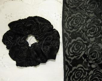 Scrunchie * Velvet Rose Embossed Sheer Plush Lush Large Hair Scrunchie *  Elegant Black Ebony * Flower  Floral Crushed  Hair Accessories