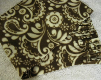 450+ Scarf Print Selection! Only at SylMarCreations!  Paisley in Brown  Winter Fleece Scarf