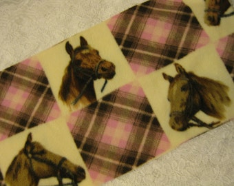 500+ Scarf Print Selection! Only at SylMarCreations!  Horses and Pink Plaid Winter  Fleece Scarf