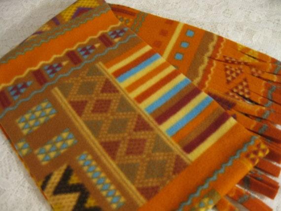 Last Two - Southwestern Saddleblanket Winter  Fleece Scarf Native American Style Indian Blanket
