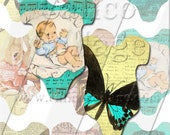 Whimsical Fun - Digital Collage Sheet Instant Download Printable - Baby Onesie Shaped Tags - 118