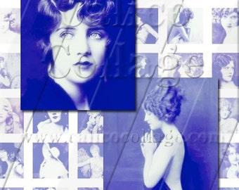Diva Collage Sheet  Ziegfeld Follies Girls Digital Collage Sheet - 1x1 Inchies Craft Sheet 525