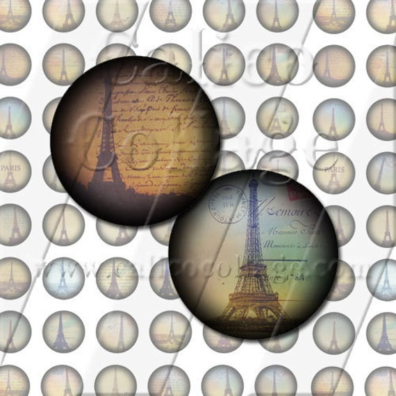 Eiffel Tower 18mm Circles - Printable Round Images Collage Sheet for Pendents Cabochons Earrings Cufflinks Bracelets Bezel Settings