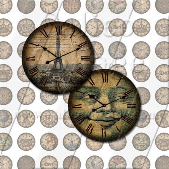 Items similar to 18mm Circle Collage Sheet Antique Clock ...