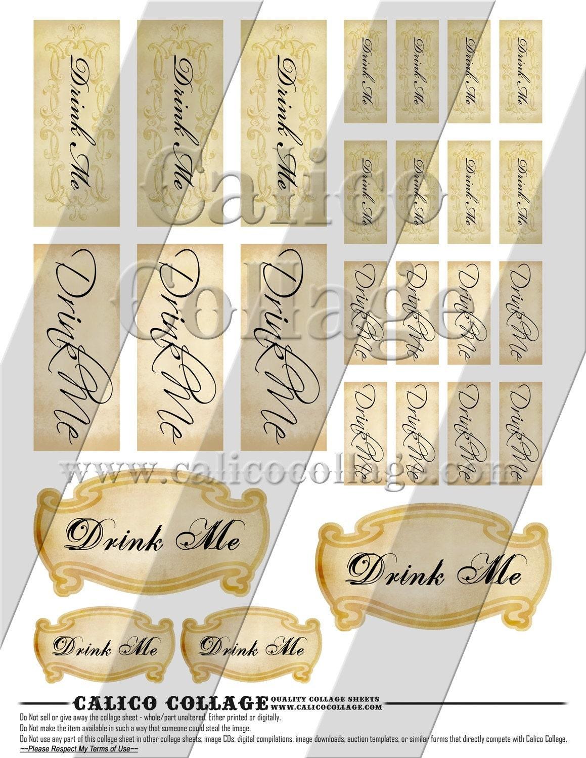 Drink me labels digital collage sheet alice in wonderland