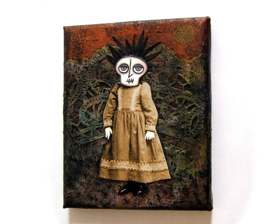 Lou Anne - ON SALE - an original spooky collage for Halloween or just to scare yourself