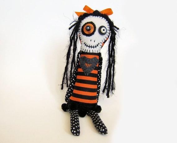 Bettina    a Halloween skeleton girl rag doll - orange and black folk art doll