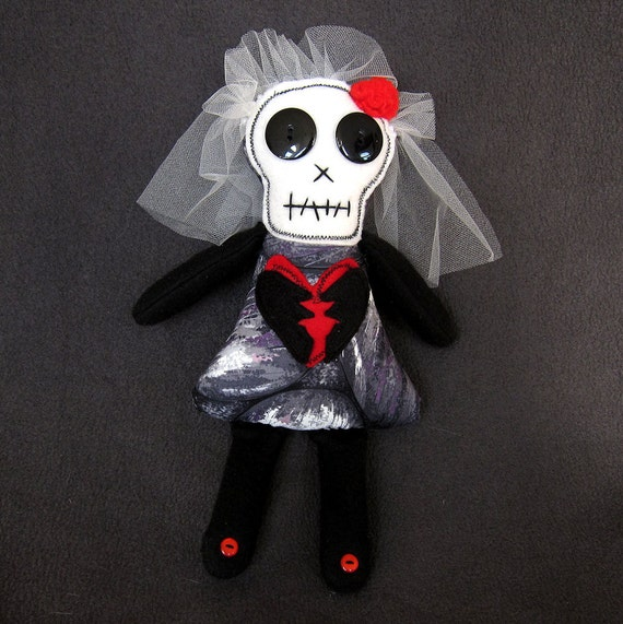 Gertie - the broken-hearted skelly bride - Halloween - Day of the Dead doll