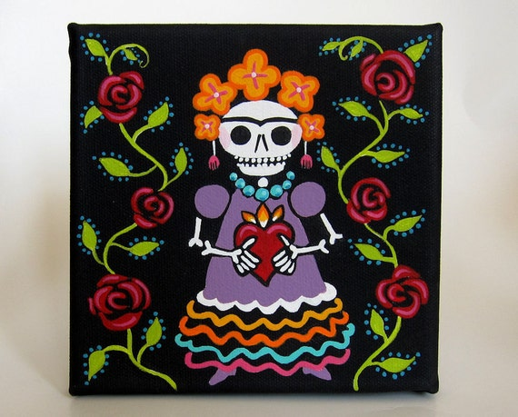 Skelly Frida with Roses - original acrylic painting outsider folk art