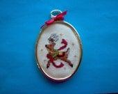 Reindeer cross stitch ornament