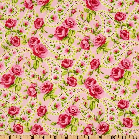 Sweet tweet Timeless treasures roses in pink paisley 2 yards