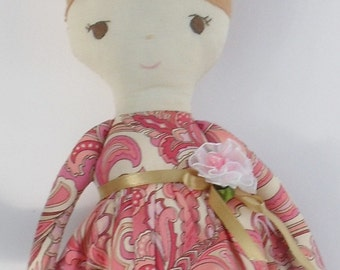 Sew Sunshine - Emma Claire  - Hand Sewn Soft Cotton Doll (suitable for baby)