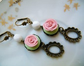 Delphina - Vintage Inspired Soft Peach and Green Polymer Clay Earrings