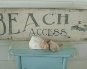Vintage BEACH sign pointing hand