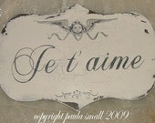 French Chic Je t' aime  I LOVE YOU sign chippy german glass glitter angel