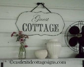 Guest Cottage sign chippy shabby vintage handpainted