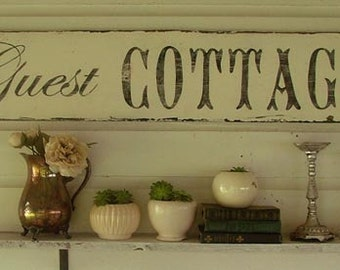 Guest Cottage Vintage style chippy cottage white sign