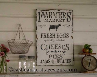 Farmhouse vintage Farmers Market sign handpainted FREE SHIPPING