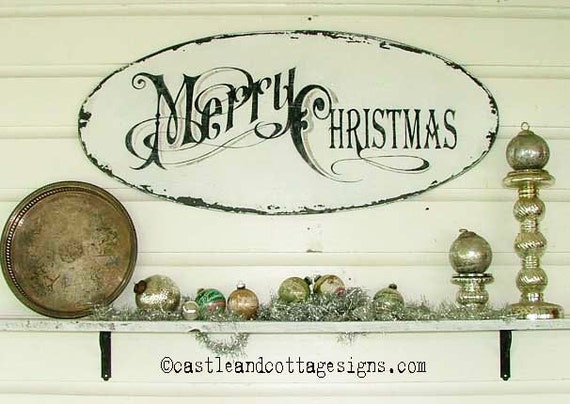 Vintage Merry Christmas sign with old world lettering  german glass glitter Cottage Chic Christmas sign inspired by vintage Christmas cards