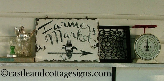 Farmers Market Roadside sign vintage style chippy farmhouse sign