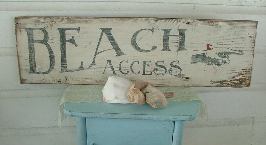 Vintage beach sign pointing hand by castleandcottage on etsy