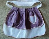 Vintage Reversable Apron Heart Pocket Valentine