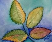 Original Watercolor Elm Tree Leaf Painting