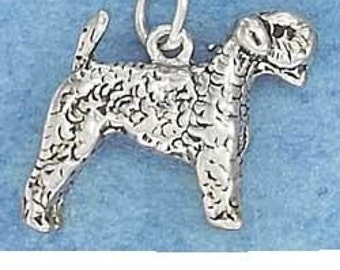 Airedale Sterling Silver Charm -- Complimentary Ribbon or Cord