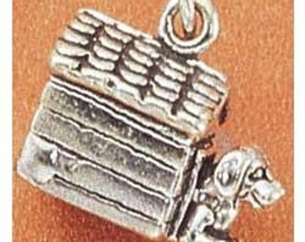 Dog in the Dog House Sterling Silver Charm -- Complimentary Ribbon or Cord