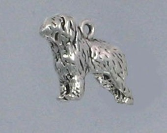 Old English Sheep Dog Sterling Silver Charm -- Complimentary Ribbon or Cord