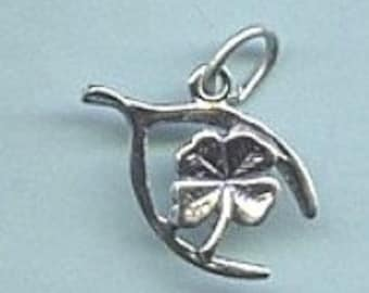 Four Leaf Clover Inside a Wishbone Lucky Sterling Silver Charm -- Complimentary Ribbon or Cord