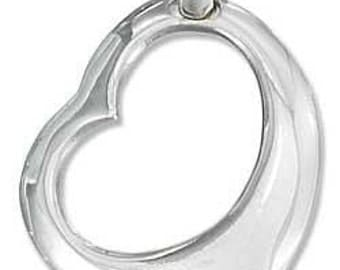 Open Heart 24MM Sterling Silver Charm -- Complimentary Ribbon or Cord